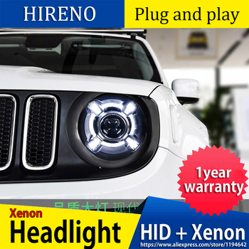 Car Styling Head Lamp case for Jeep Renegade Headlights Renegade 2015-2017 LED Headlight DRL Lens Double Beam Bi-Xenon HID
