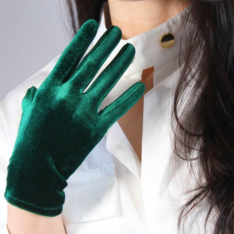 Green Blue Ladies Elegant Velvet Gloves Evening Dress Party Elastic Stretchy Women Spectial Occastion Finger Gloves One Size