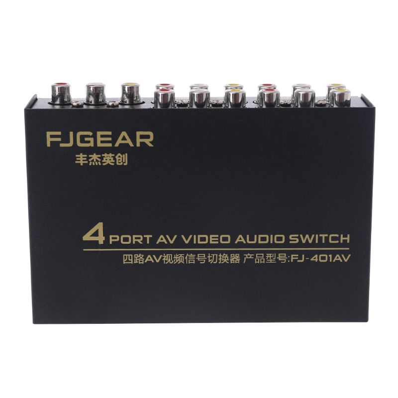 NEW 4 Port AV Audio Video RCA 4 Input 1 Output Switcher Switch Selector Splitter Box