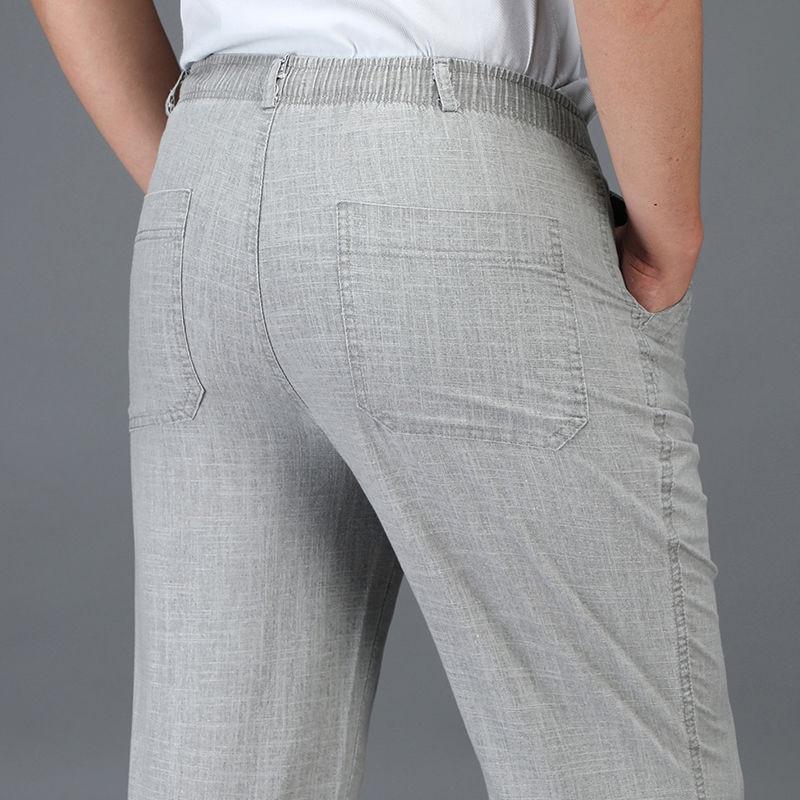 Men Trousers Casual Pants Men Linen Pants Summer Thin Elastic waist Business Office 5XL Plus size