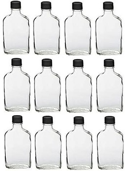 6 Pcs Glass Flask Bottles with Tamper Evident Cap 100-350 Ml Pocket Flask Empty Wine Whisky Vodka Brandy Rum Bottle Lead-free 2000 ml conical flask erlenmeyer flask with wide mouth laboratory glass