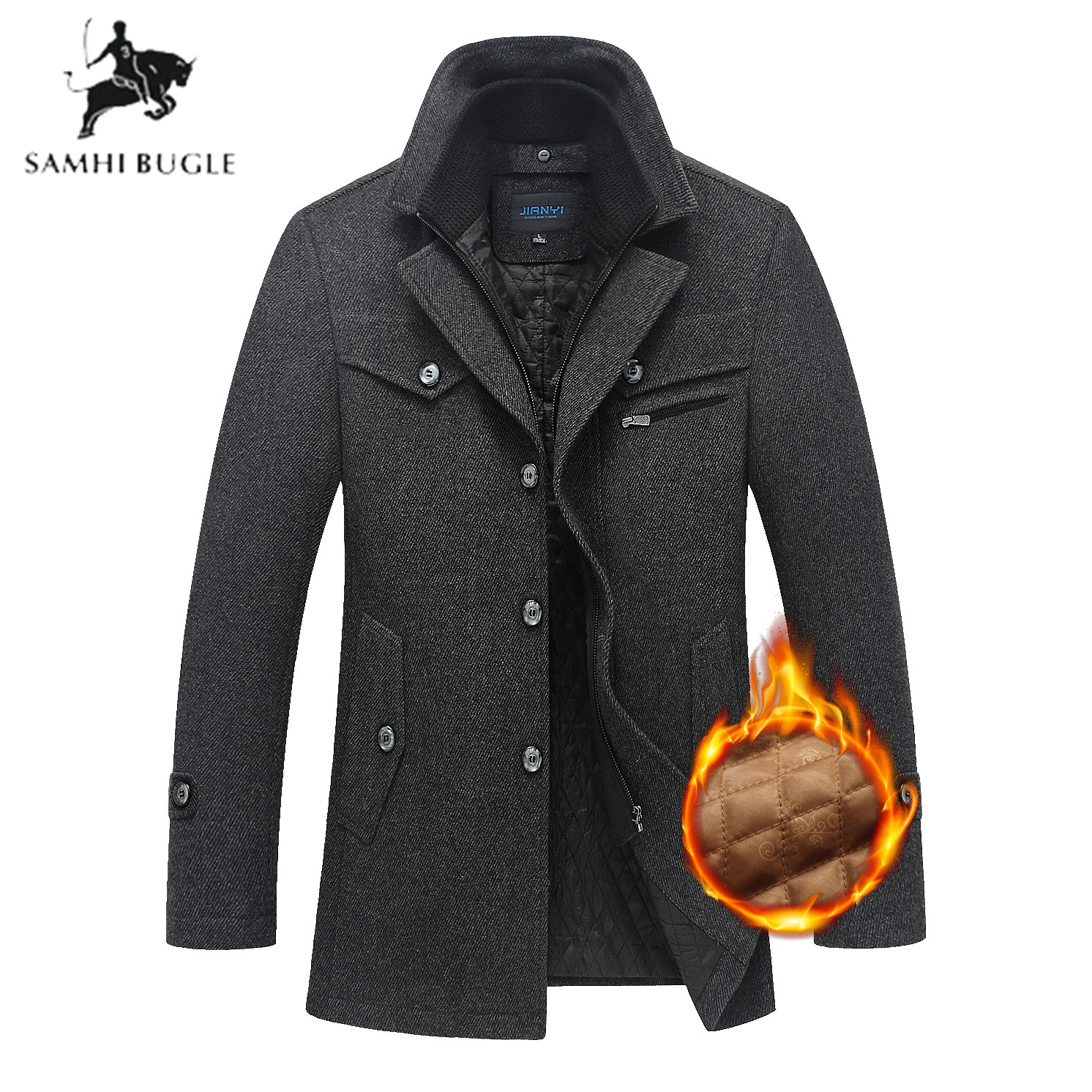 mens wool winter coats jackets Fashion Business Men's Coat Thicken Slim Windbreaker Overcoat Jacket Male Plus Size 5XL