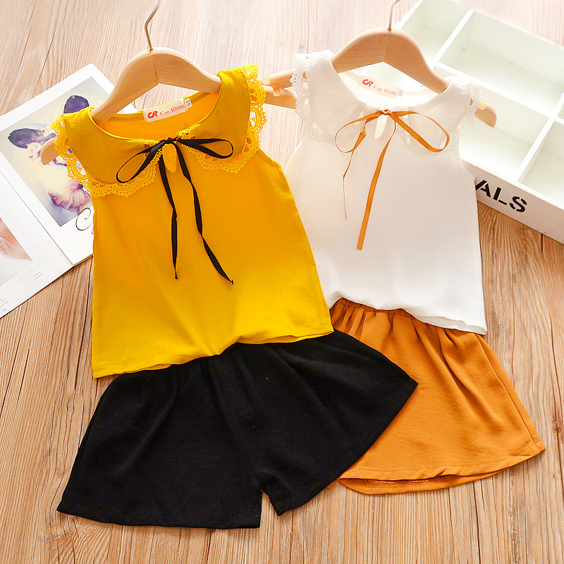 2020 Summer Baby Toddler Girl Clothes Kids Outfits Print Short Tshirt Suits For Girls 2 Piece Set Children Clothing 2 4 5 6 Year