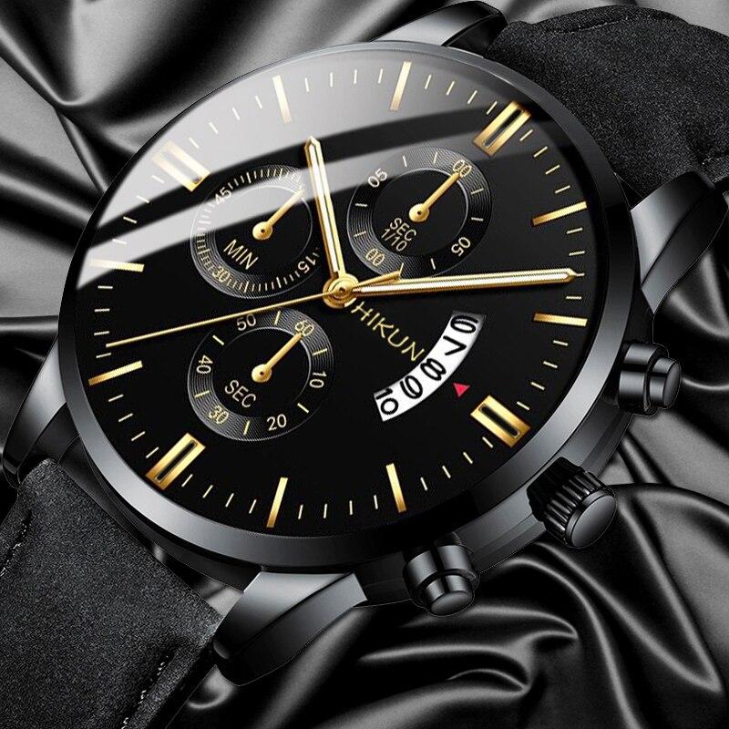 2020 Luxury Mens Watch Fashion Sport Wrist Watch Alloy Case Leather Band Watch Quartz Business Wristwatch Calendar Clock