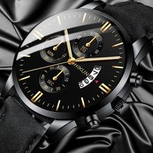 2020 luksusowy zegarek męski mody sporta zegarek na rękę koperta ze stopu skórzane zegarek z branzoletką zegarek biznesowy kwarcowy zegar z kalendarzem tanie tanio OLMECA 25cm Moda casual QUARTZ Nie wodoodporne Klamra Szkło Nie pakiet Skóra 42mm 20mm ROUND Kompletna kalendarz Business watch for men