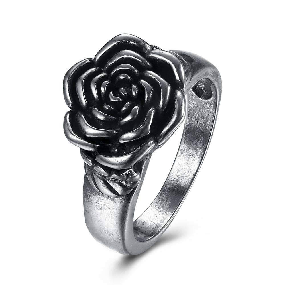 Size 6&8&9 Vintage Anti Silver Plated Black Rose Flower Ring For Women Retro Annual Shopping Date Jewelry(China)