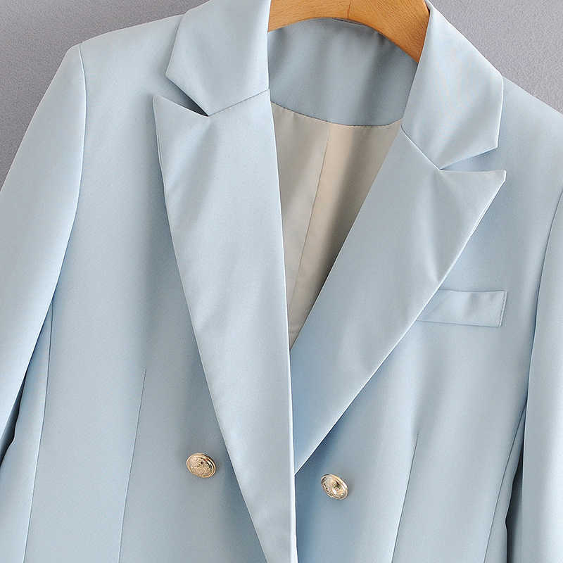 Wixra Giacca Sportiva delle Donne di Autunno della Molla Classico Blu Doppio Petto Ufficio Indossare Cappotto Lungo Del Manicotto 2020 Della Tuta Sportiva
