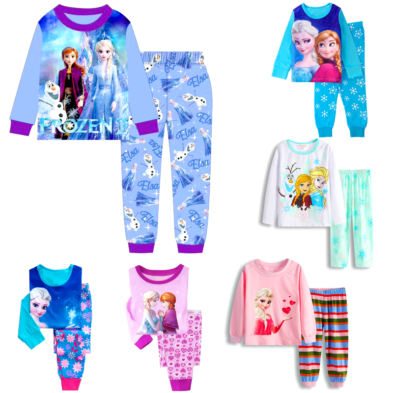 2020 Girls Elsa Anna Clothes Toddler Girls Clothes Mickey Minnie Set Kids Girls Fall Outfits Clothing Girls Pajamas Suit