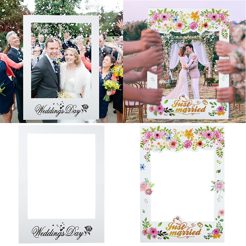 68cm * 48cm Wedding Photo Booth Props Just Married Photobooth Party Backdrop Decoration Bridal Bachelorette Supplies