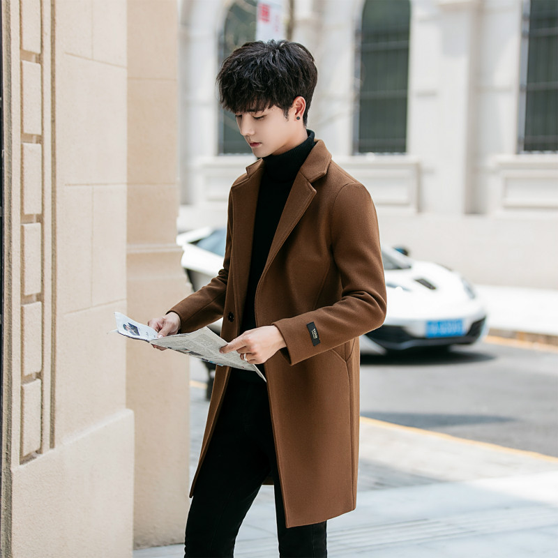 YASUGUOJI Casual Solid Color Men Coat Winter Long Slim Fit Mens Overcoat Polyester Coat Men Abrigos Hombre Invierno Hombre
