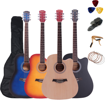 41 inch Acoustic Guitar Basswood Folk Guitar accessories with Bag Picks Capo Strap 6 Strings  for Guitar Beginners  Instrument acoustic custom guitar 41 inch full size 6 string basswood with guitar kit from us