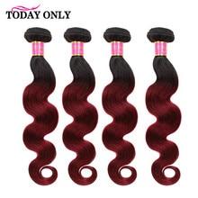TODAY ONLY Brazilian Hair Weave Bundles Ombre Body Wave Bundles 4 Burgundy Bundles Hair Two Tone