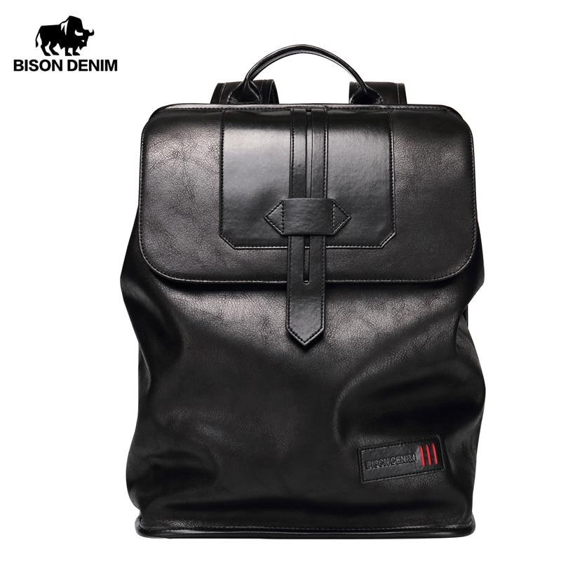 BISON DENIM Large Capacity Backpack 14 Inches Laptop Backpacks For Teenager Fashion Travel Waterproof Men Women Backpack N2581