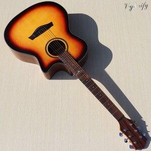 Image 5 - High grade flame maple topo corte design guitarra acústica elétrica de alto brilho 6 cordas folk guitarra com função sintonizador eq