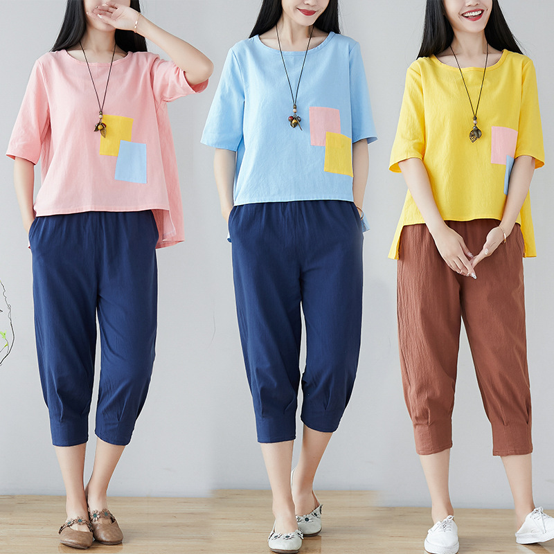 Summer Hipster Cotton Linen WOMEN'S Suit Large Size Loose Fashion Casual Capri Pants Flax Two-Piece Set