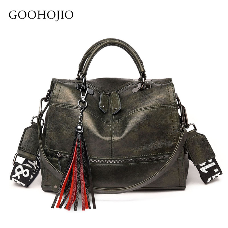 Wide Shoulder Strap Retro Women Handbags High Quality Leather Ladies Shoulder Bags Brand Tassel Luxury Women Crossbody Bags