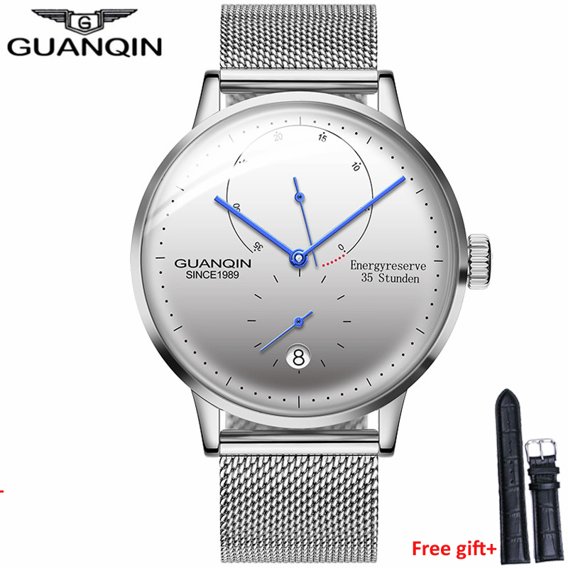GUANQIN Men Watches Automatic Mechanical Energyreserve 35 Stunden Clock Casual Fashion Sapphire Waterproof men's Wrist Watches