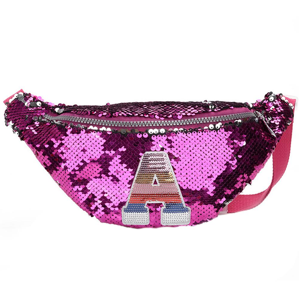 New Trend Korean Children Girl Capital Letter Sequins Bum Bag Fanny Pack Crossbody Shoulder Bag Zipper Bum Bag Sequins Decor Bag