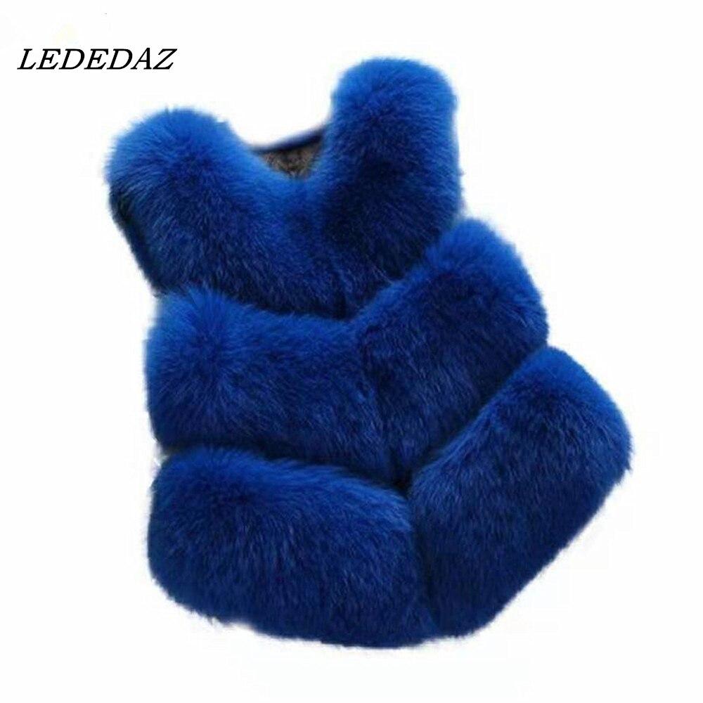 Short Ladies Faux Fur Vest Royal Blue Slim Women Sleeveless Faux Fox Fur Coat & Jacket Plus Size Winter Jacket Casaco Feminino