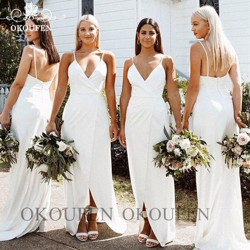 White Long   Bridesmaid     Dresses   Sexy Front Split Spaghetti Strap Robe De Soiree Party Wedding Guest   Dress   For Women