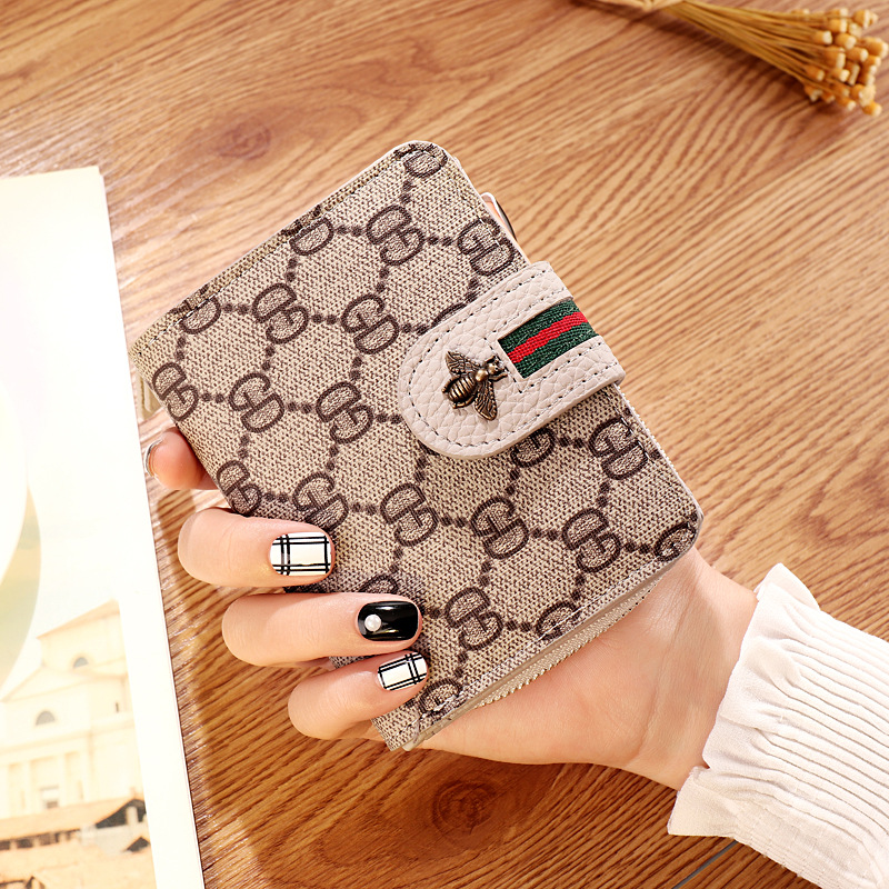 Women Purse Wallet Card-Holder Short Flower Printing Zipper Small Female Designer Lady