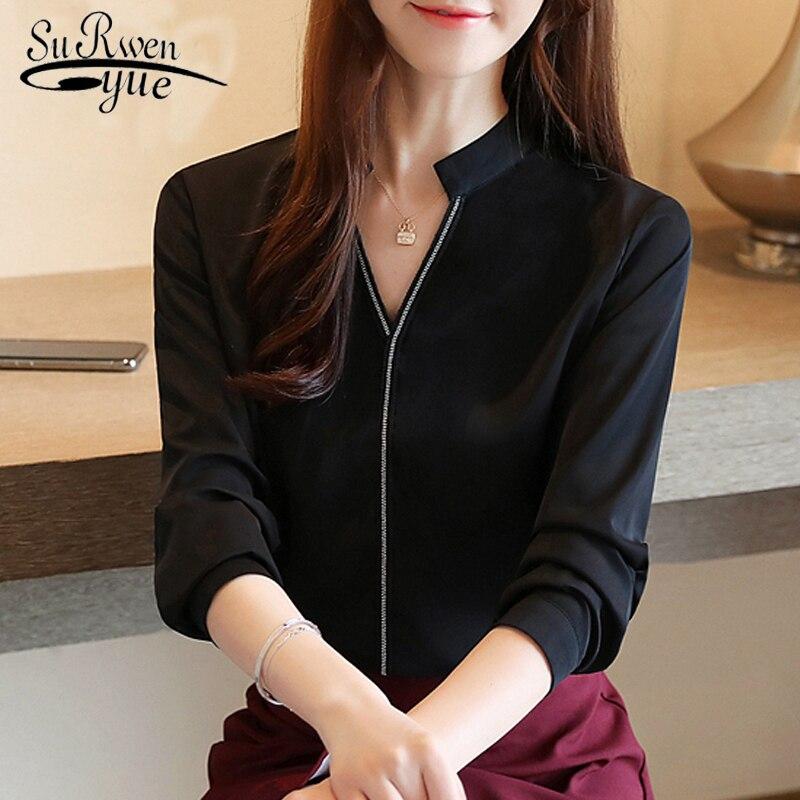 Fashion Womens Tops And Blouses 2019  Ladies Tops Harajuku Chiffon Blouse Diamonds Solid V-Neck Black White Blouse Shirt 6277 50