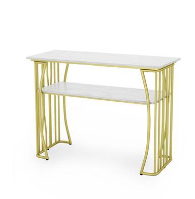 Чистый красный мраморный Маникюрный Стол И Набор стульев, одиночный двойной золотой железный двухэтажный Маникюрный Стол, простой и роскошный светильник - Цвет: 120CM