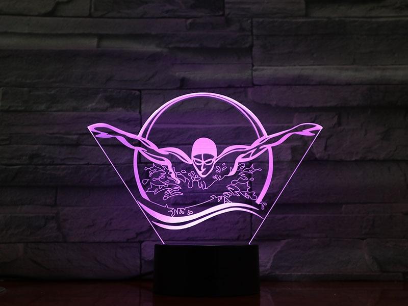 3D Led Modelling Desk Lamp 7 Color Swimmer Change Gradient Atmosphere Lighting Cool Boy Bedside Night Light Fixture Decored Toy