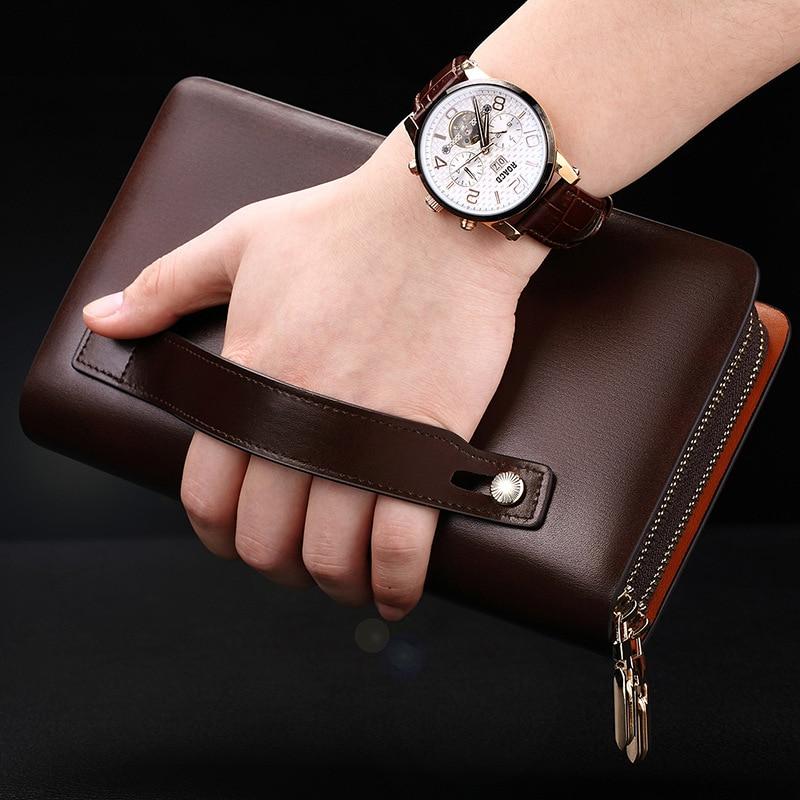 Men Clutch Bag Genuine Leather Genuine Product Men's Handbag Mobile Phone Bag Large Capacity Clutch Bag Long Wallet Fashion