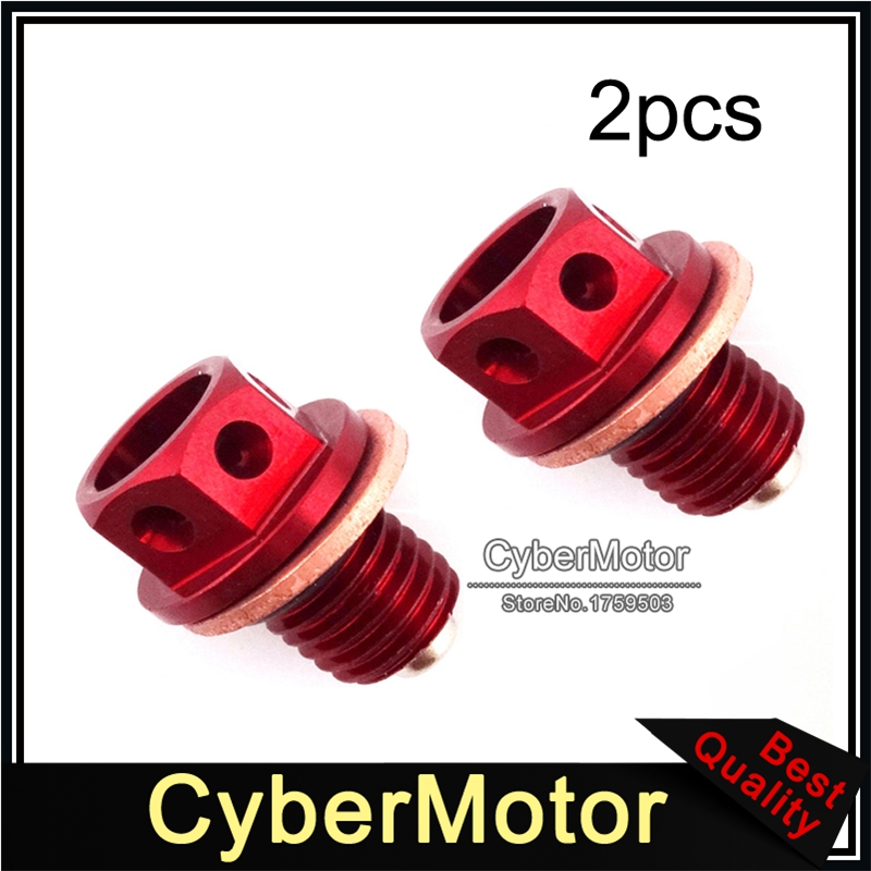 2x Red <font><b>Engine</b></font> Oil Magnetic Drain Bolt Plug For Chinese 50cc 90 110 125 140 150 <font><b>160cc</b></font> <font><b>Lifan</b></font> Zongshen Loncin Pit Dirt Motor Bike image