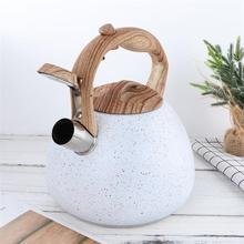 Whistling-Kettle Boiling Stainless-Steel White Wooden-Handle Flat-Bottom 3L 1pc Antique