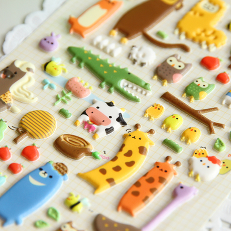 SST1 Cute Cartoon Zoo Stereo Bubble Sticker Children's Toy 3D DIY Diary Decoration Mobile Sticker Kindergarten Gift Stationery