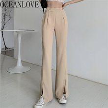 OCEANLOVE – pantalon De Style coréen pour femme, taille haute, rétro, longueur complète, mode printemps 2021