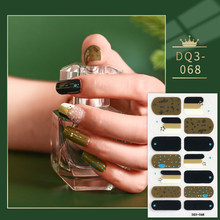 Black And Green Designed Full Cover Nail Stickers Designer Nail Decals Self Adhesive Nail Sticker Nail Sticker Set Full Beauty