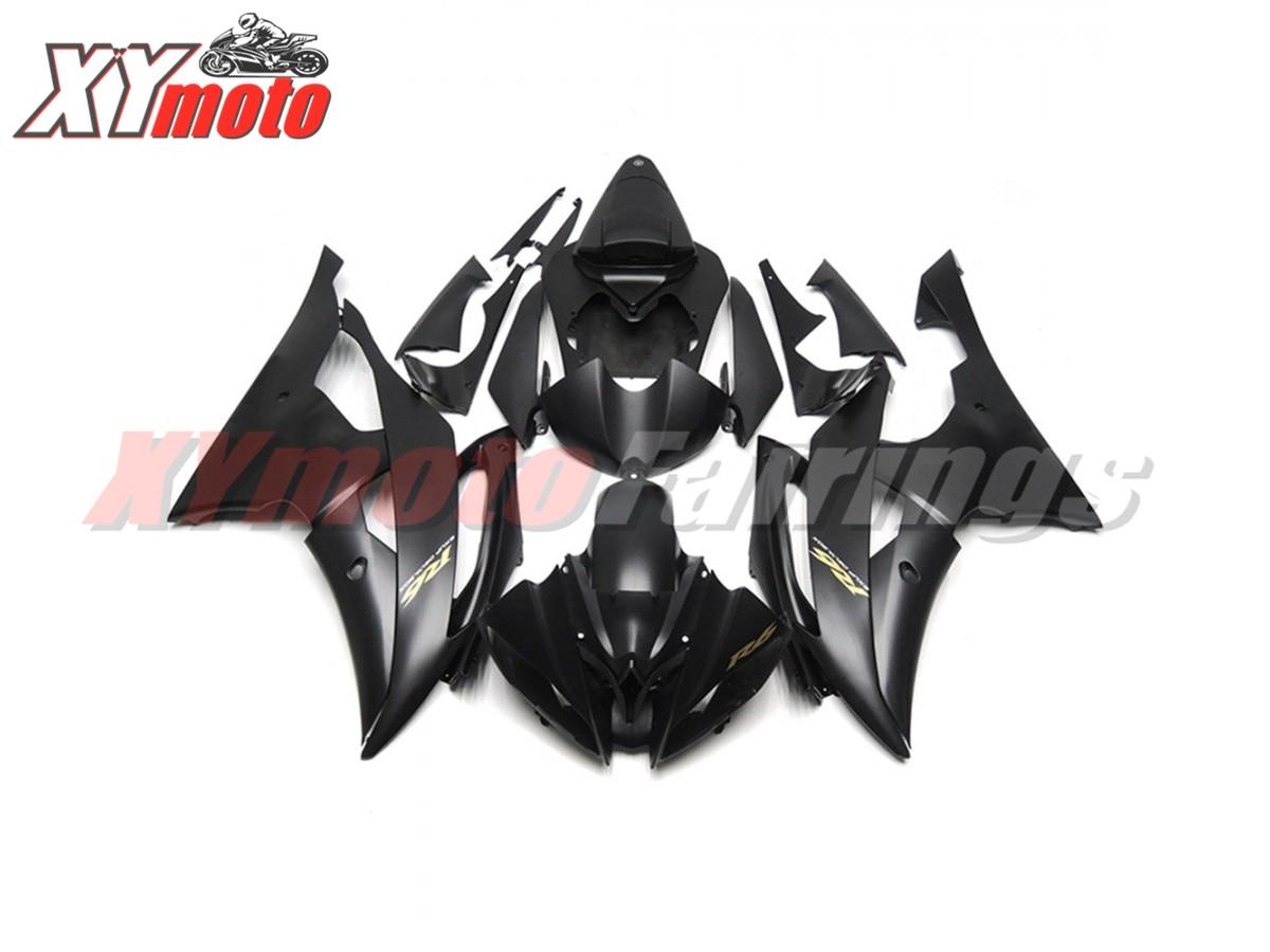 Kit de carénages de moto pour Yamaha YZF600 R6 08-16 Injection ABS carénage en plastique R6 2008-2016 noir mat Bodyworks