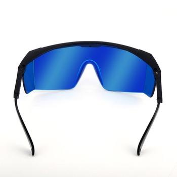 Laserowe okulary ochronne dla Violet Blue 200-450 800-2000nm absorpcja okrągłe gogle ochronne laserowe okulary ochronne gogle tanie i dobre opinie HEROBIKER CN (pochodzenie) plastic black frame and blue lens 13 8cm 6 5cm 14 5cm