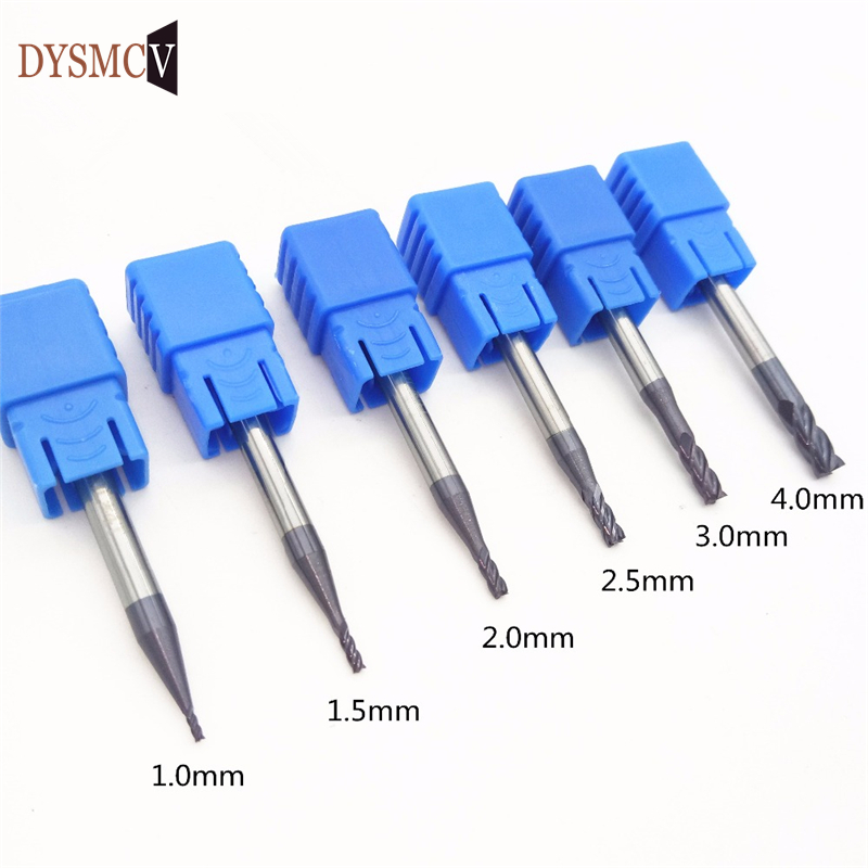 1pc  Router Bit 1mm 1.5mm 2mm 2.5mm 3mm 4mm 4 Blade HRC50 Carbide Square Flat Endmill Spiral Knife CNC Milling Tools For Steel