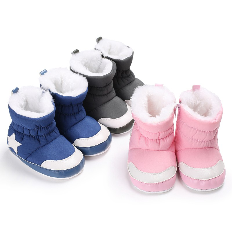 New Baby Winter Shoes Kids Boots Five Star Pattern Snowfield  Boots Unisex Kids Crib Infant Toddler  Snow Boots Booty Z