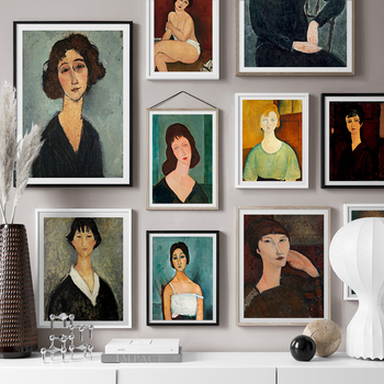 Classical Famous Works Amedeo Modigliani Painting Vintage Women Poster Wall Art Canvas Painting for Living Room Cuadros Decor image