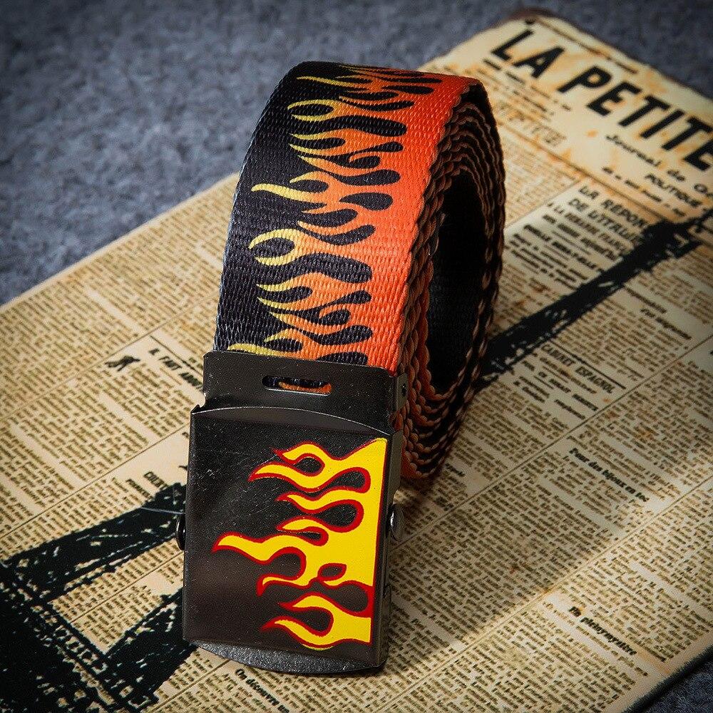 New Flame Print Belt Men Women Unisex Plain Webbing Belts High Nylon Belts Men Jeans Waist Belt Waistband Cinturones Para Hombre
