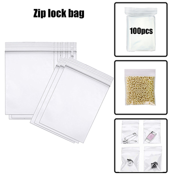 100pcs/lot Transparent Thick Plastic Small Jewelry Zip Lock Ziplock Bags Gadget Accessories Storage Package Packing zipper bag image