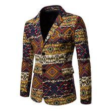 Men Designer Blazers 2019 Slim Fit Male Plaid Nationality Printed Blazer Masculino Casual Suits Jacket 4XL