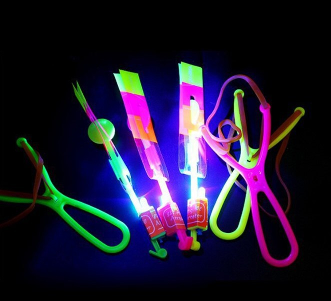 Slingshot Ejection Arrows Blue Light UFO Shining Flying Fairy Bamboo Dragonfly Night Market Stall Hot Selling Flash Toy