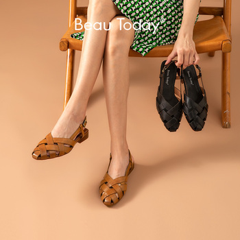 BeauToday Gladiator Sandals Women Genuine Cow Leather Cover Toe Buckle Strap Weaving Ladies Summer Flat Shoes Handmade 33034 beautoday monk shoes women buckle straps genuine leather calfkin round toe lady flats handmade brogue style shoes 21408