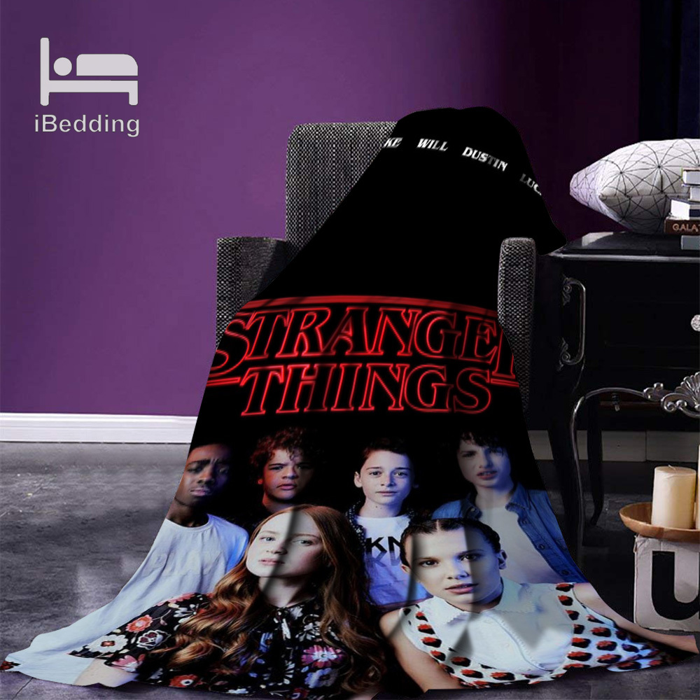 Hot Movie Stranger-Things  Fleece Throw Blanket Print on Demand Flannel Blankets for Sofa Customized DIY Dropshipping-3