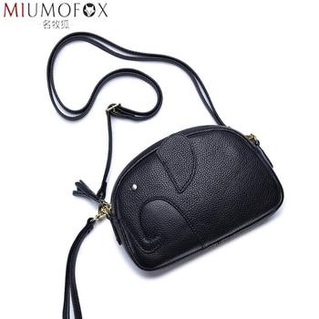 Bolso de mensajero de mujer de cuero genuino de alta calidad, bolso de hombro tipo bandolera de elefante creativo a la moda, novedad de verano, bolso Popular