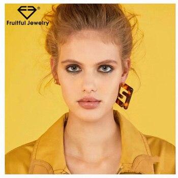 Fruitful Luxury Brand Trendy Geometry Letter F Stud Earrings Two Ways Wearing Resin Leopard Modern For Women Earrings