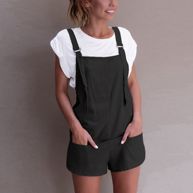 2020 Fashion Women Summer Jumpsuits Casual Strappy Pockets Solid Short Rompers Cotton Dungarees Bib Overalls Beach Party Pants