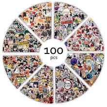 100 sztuk/partia japonia Anime Graffiti atak na Titan Demon Slayer Haikyuu DIY wodoodporne naklejki Laptop Cartoon naklejka