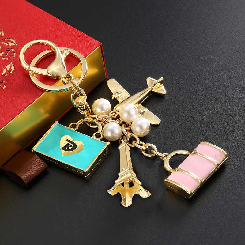 Keychain da moda Saco de Viagem de Avião Torre Eiffel Chave Anel Para Mulheres Presente Bonito Única Chave de Cristal Cadeia de Jóias